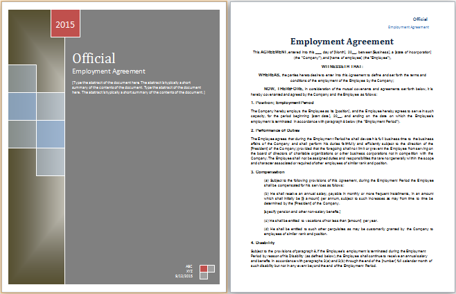 Employer Agreement Template At HttpWorddoxOrgFormalEmployer