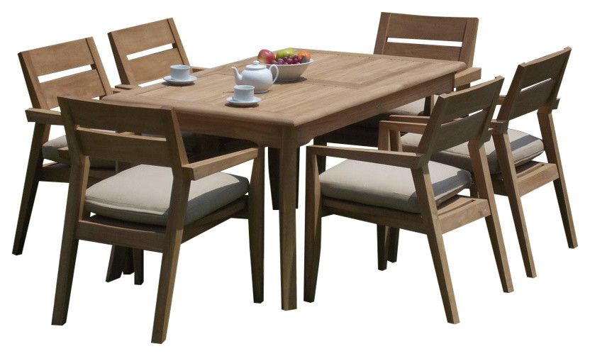 Outdoor 7 Piece Dining Set With Rectangular Table 60 Furniture