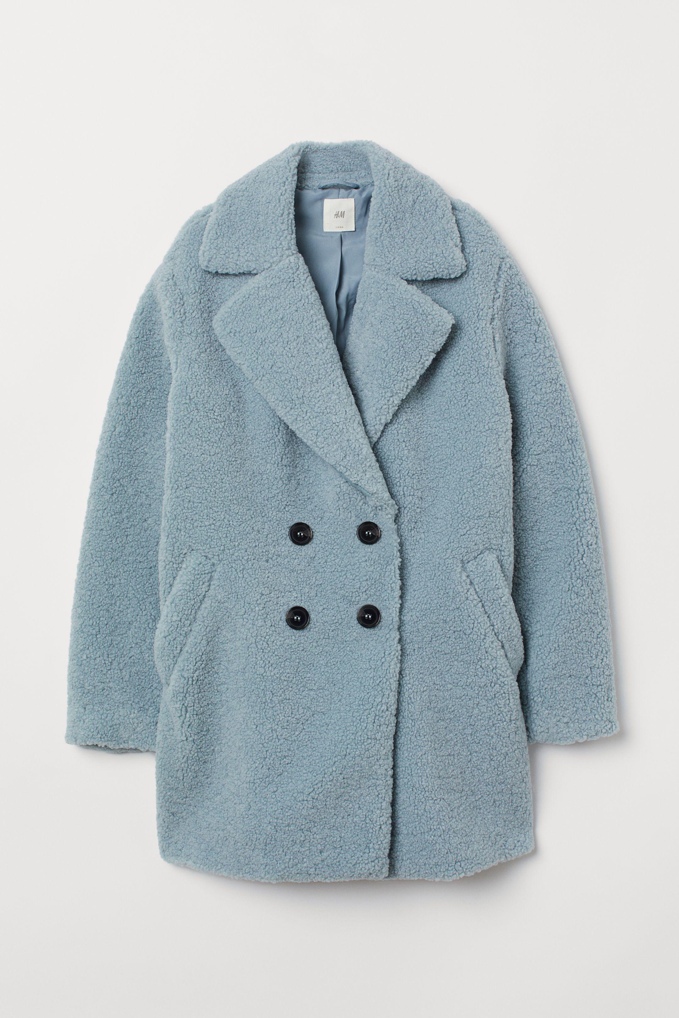 Lichtblauwe Winterjas Dames.Teddy Jas Things I Like Jas Lichtblauw En Kragen