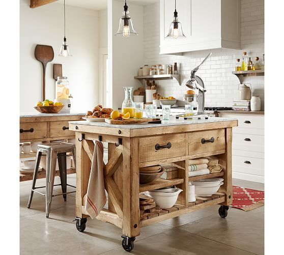 Kitchen Island 30 Wide hamilton reclaimed wood marble-top kitchen island | pottery barn