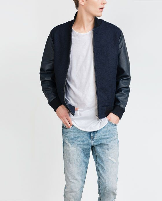 ZARA - MAN - COMBINATION BOMBER JACKET | Varsity Jacket ...