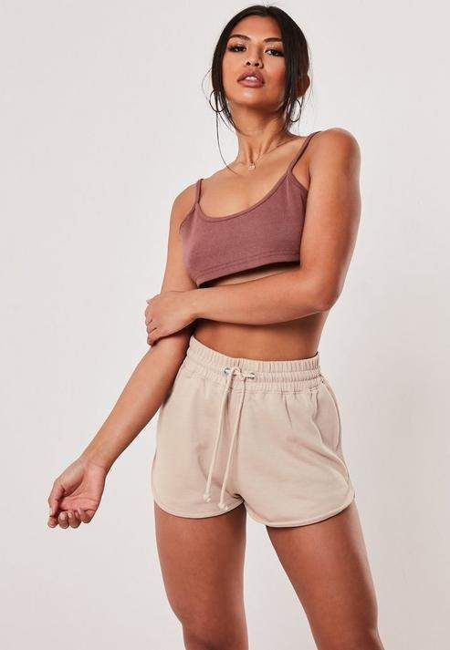 Missguided Stone Loopback Tie Waist Runner Shorts