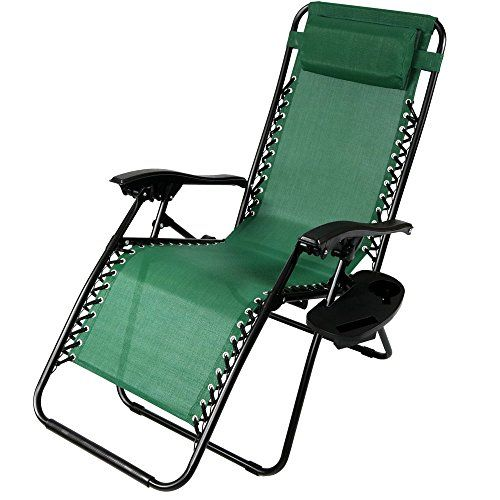 Sunnydaze Forest Green Zero Gravity Lounge Chair With Pillow And