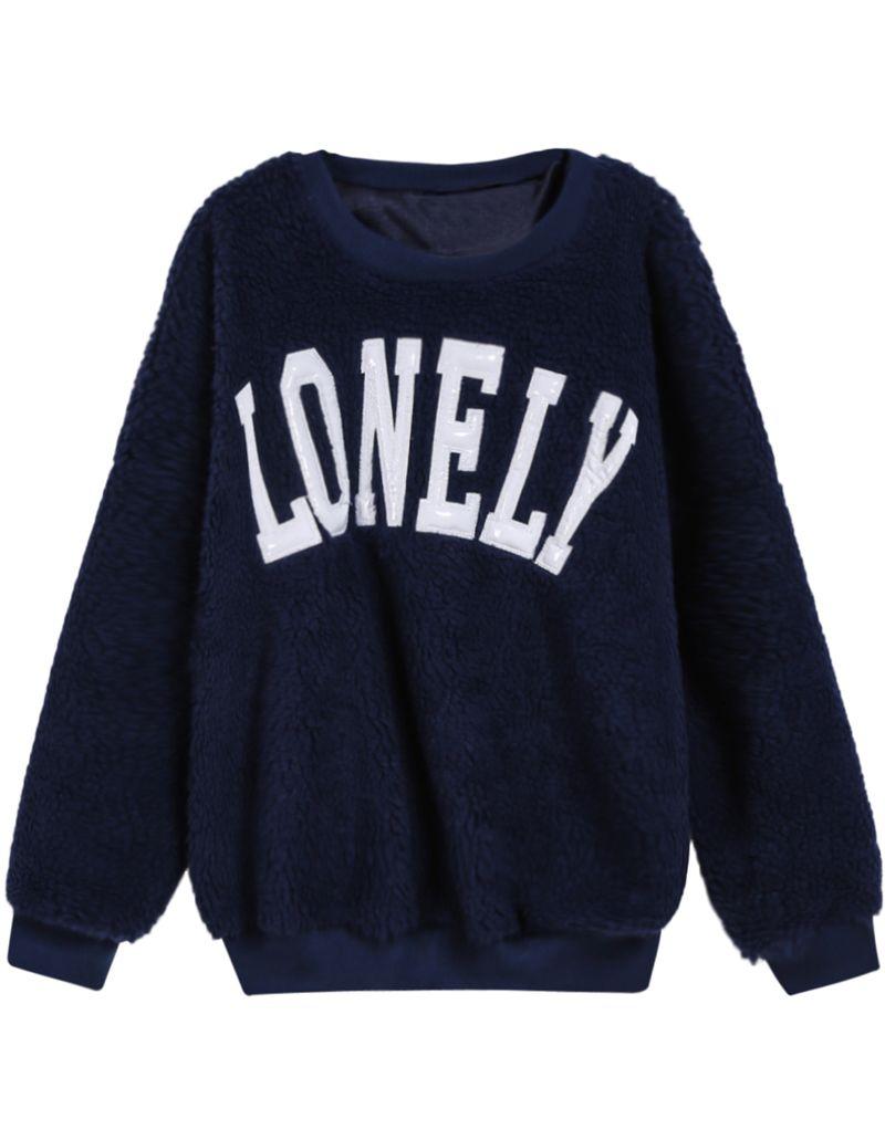 Blue Long Sleeve Lonely Pattern Sweatshirt Sheinside Com Sweatshirts Sweatshirts Pattern Latest Sweatshirts [ 1031 x 800 Pixel ]