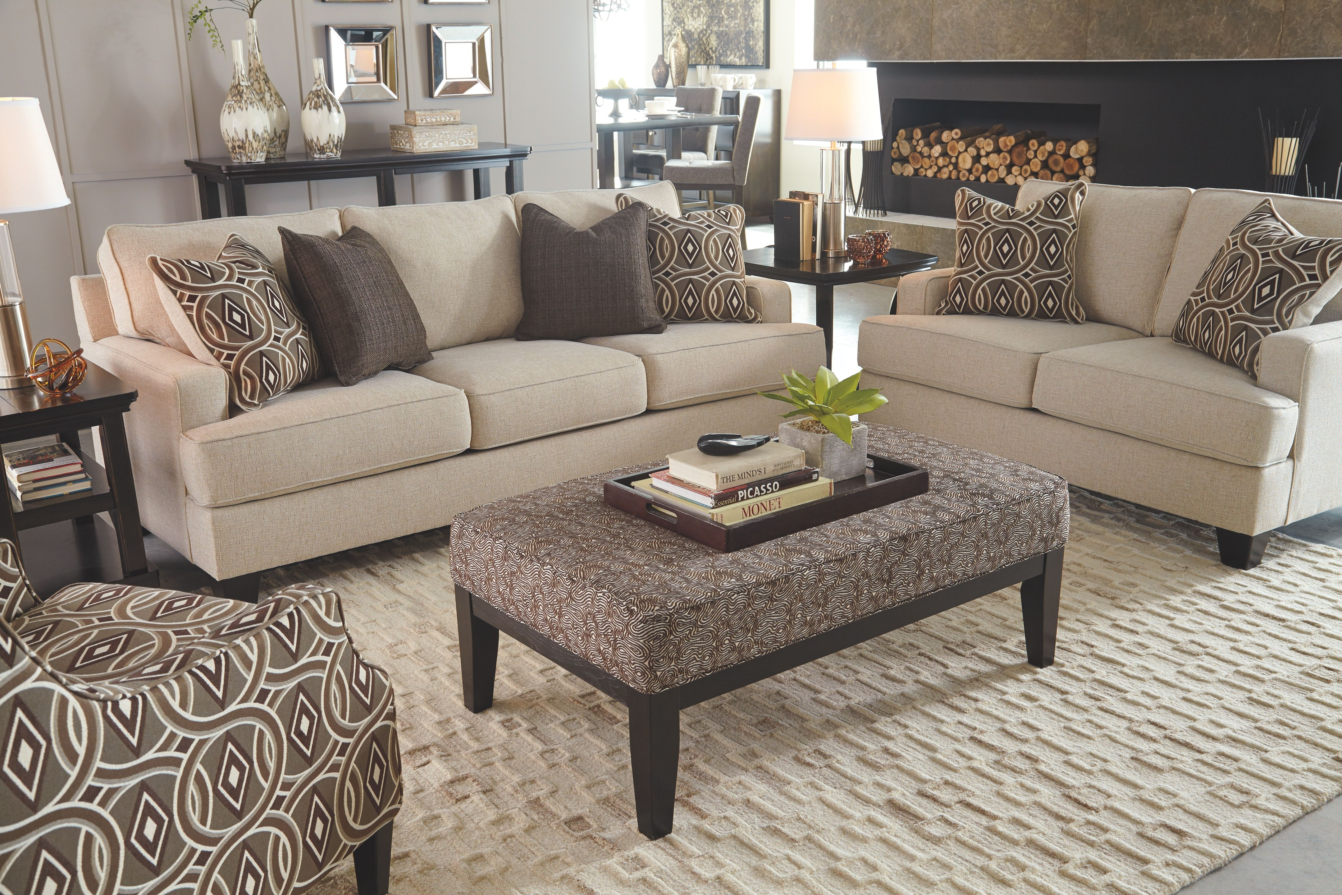 Bernat Sofa And Loveseat Linen Brown Living Room Couches Living Room Livingroom Layout