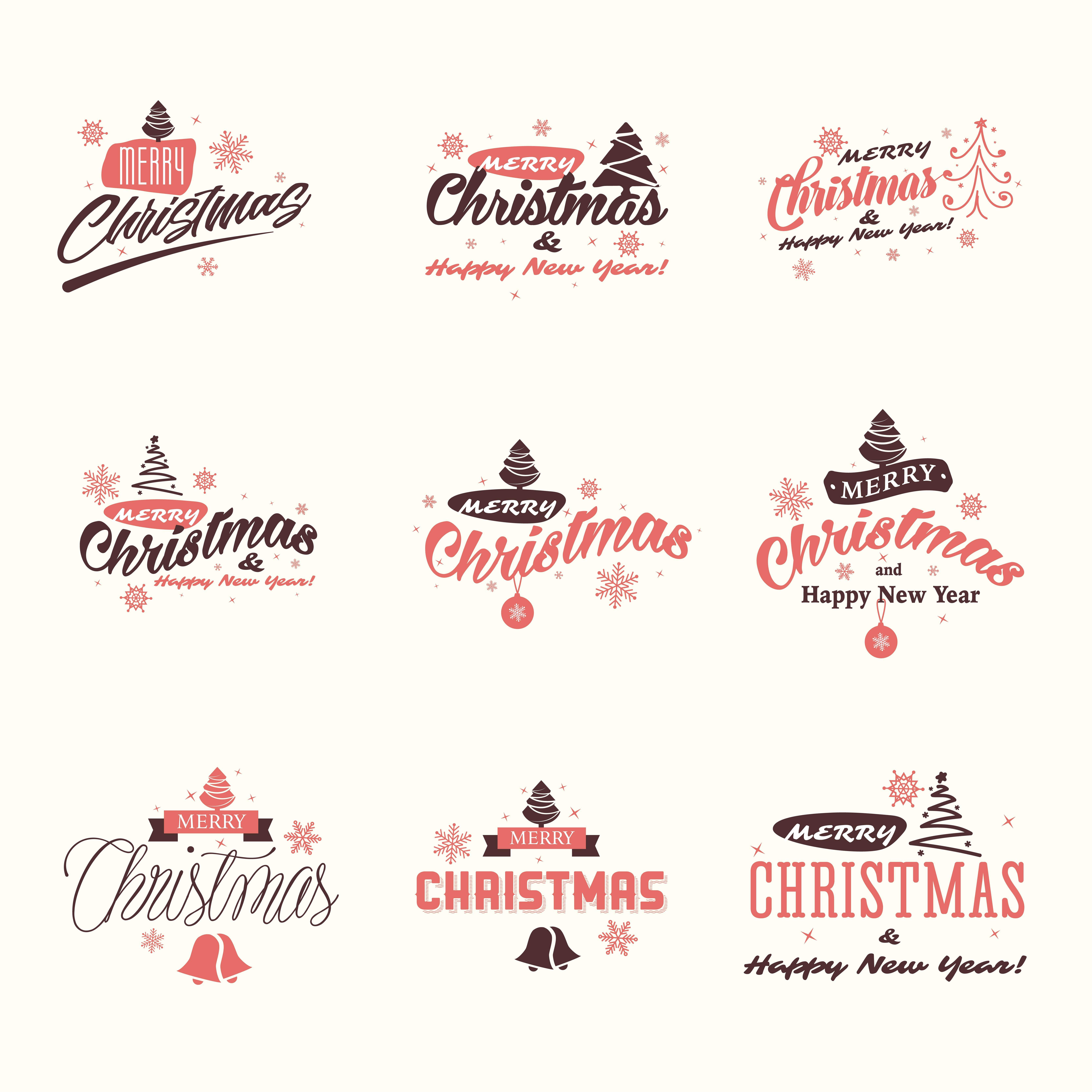 Merry Christmas and Happy New Year signs vector set tree