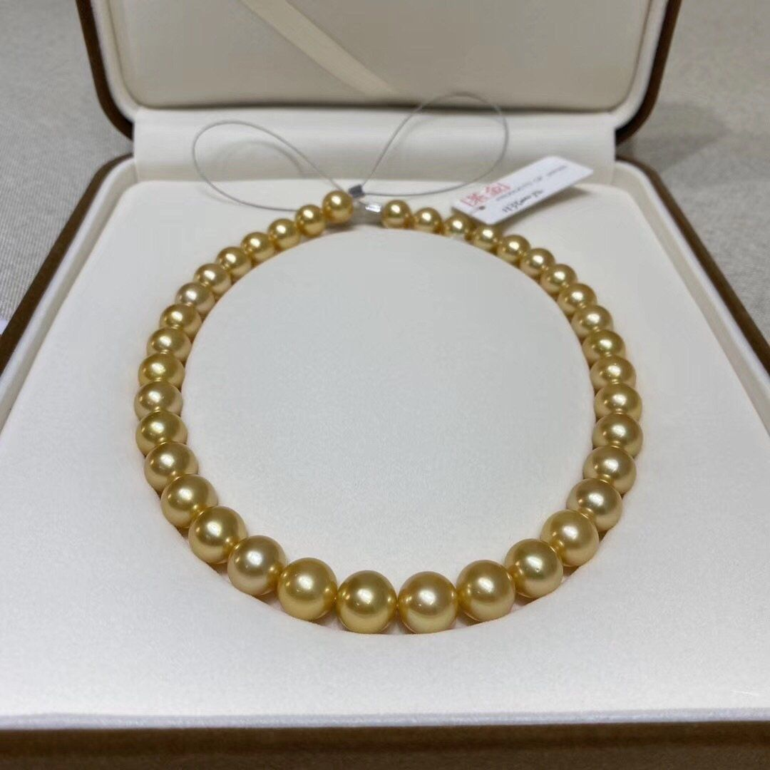 """12mm Gold South Sea Shell Pearl Round Beads Necklace 18/"""" Bracelet 7.5/"""" Set AAA"""