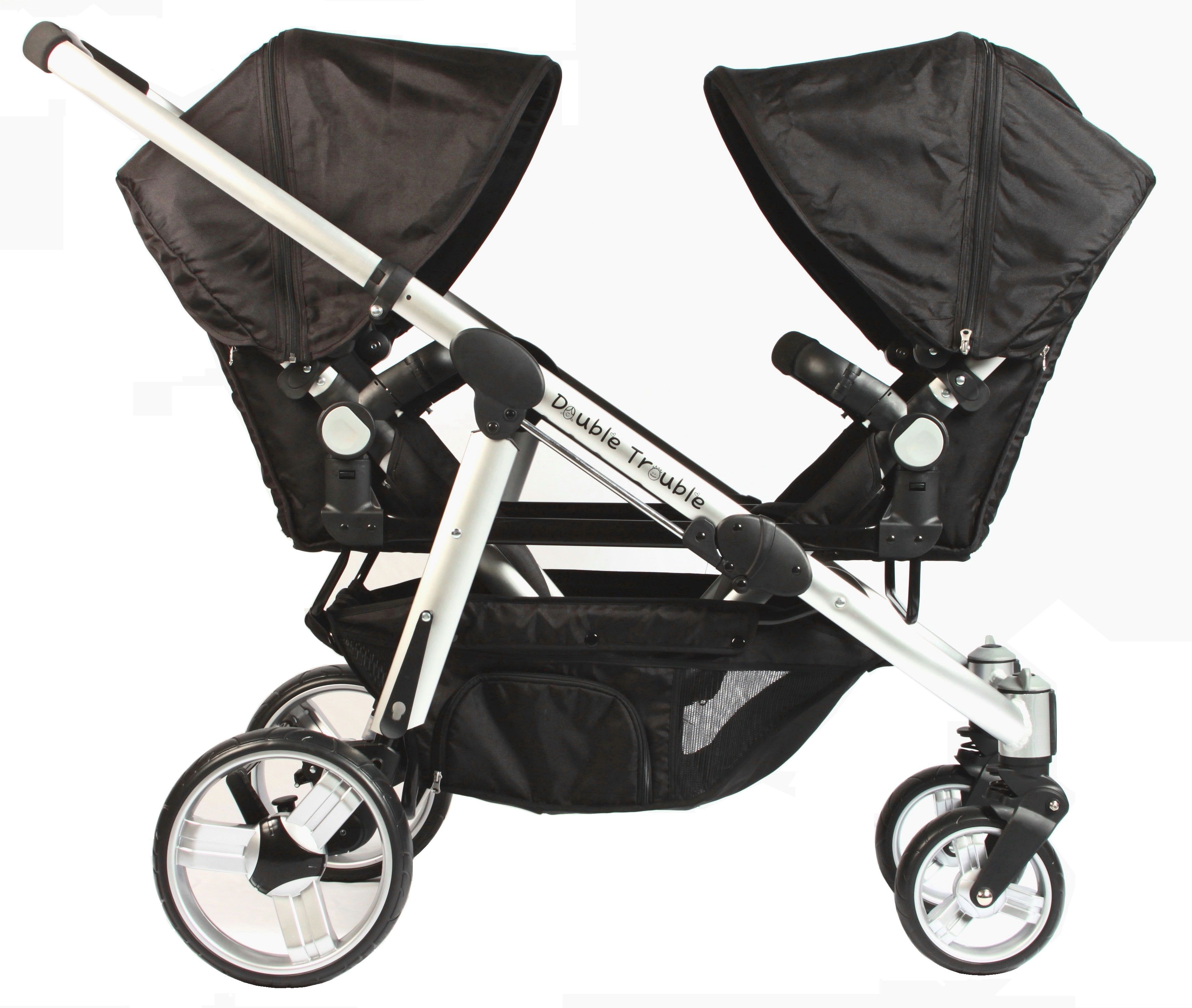 Strollers facing one another in the Double Trouble twin