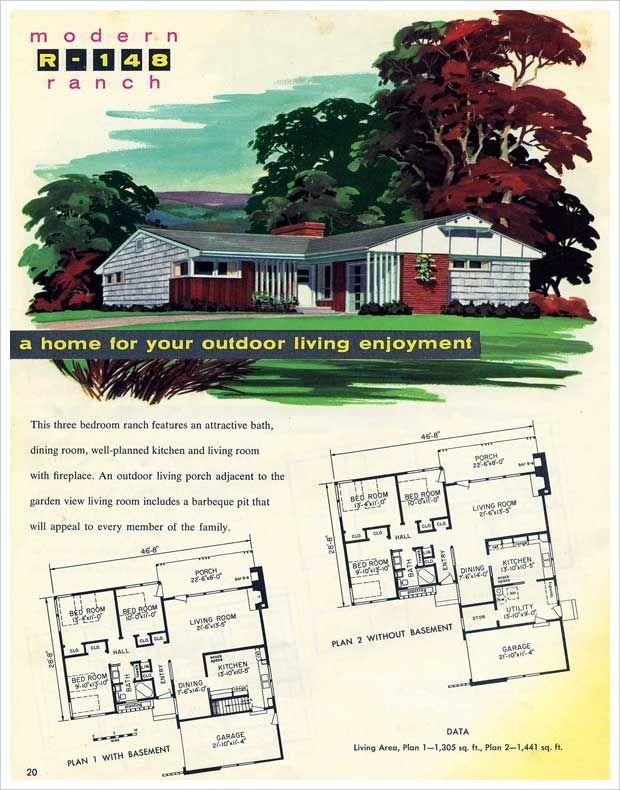 1950s L-shaped house plan | home | Pinterest | House plans, 1950s ...