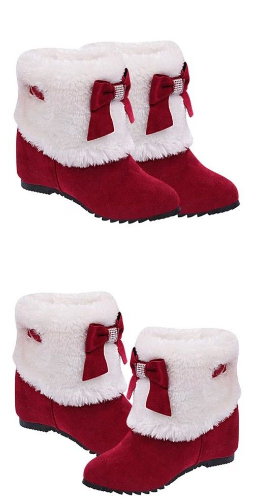 Women's Snow Boots Unique Designed Comfort Winter Boots Cute Winter and Christmas with Santa Claus In Red Costume
