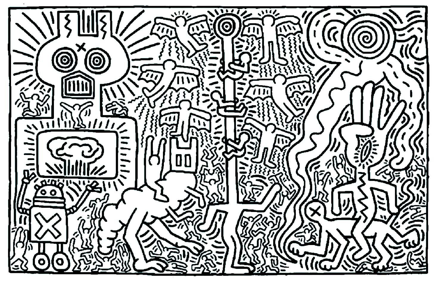 Keith haring 2 - Pop Art Coloring Pages for Adults - Just ...