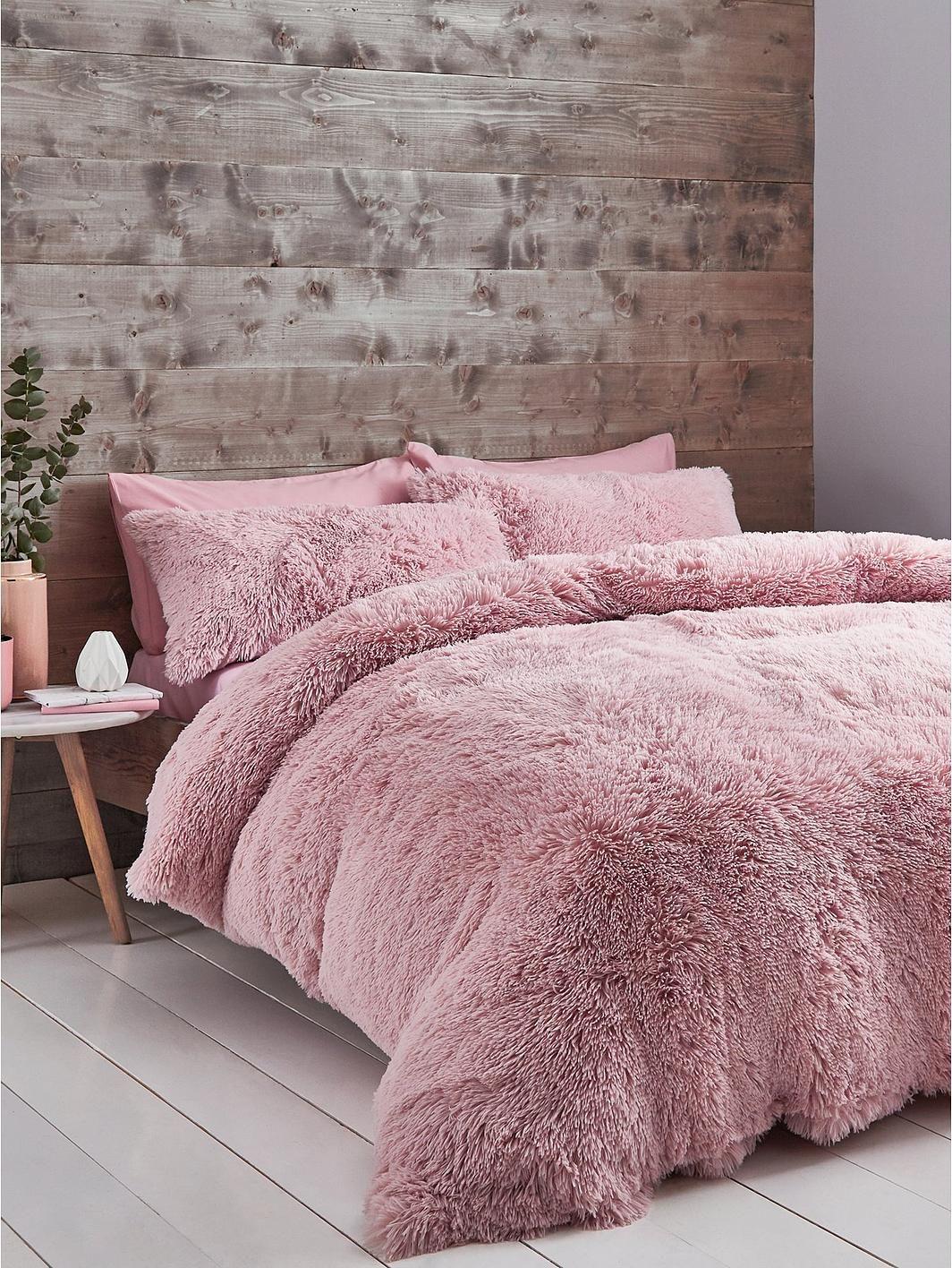 Catherine Lansfield Cuddly Faux Fur Duvet Cover Set Duvet Cover Sets Pink Duvet Blush Duvet