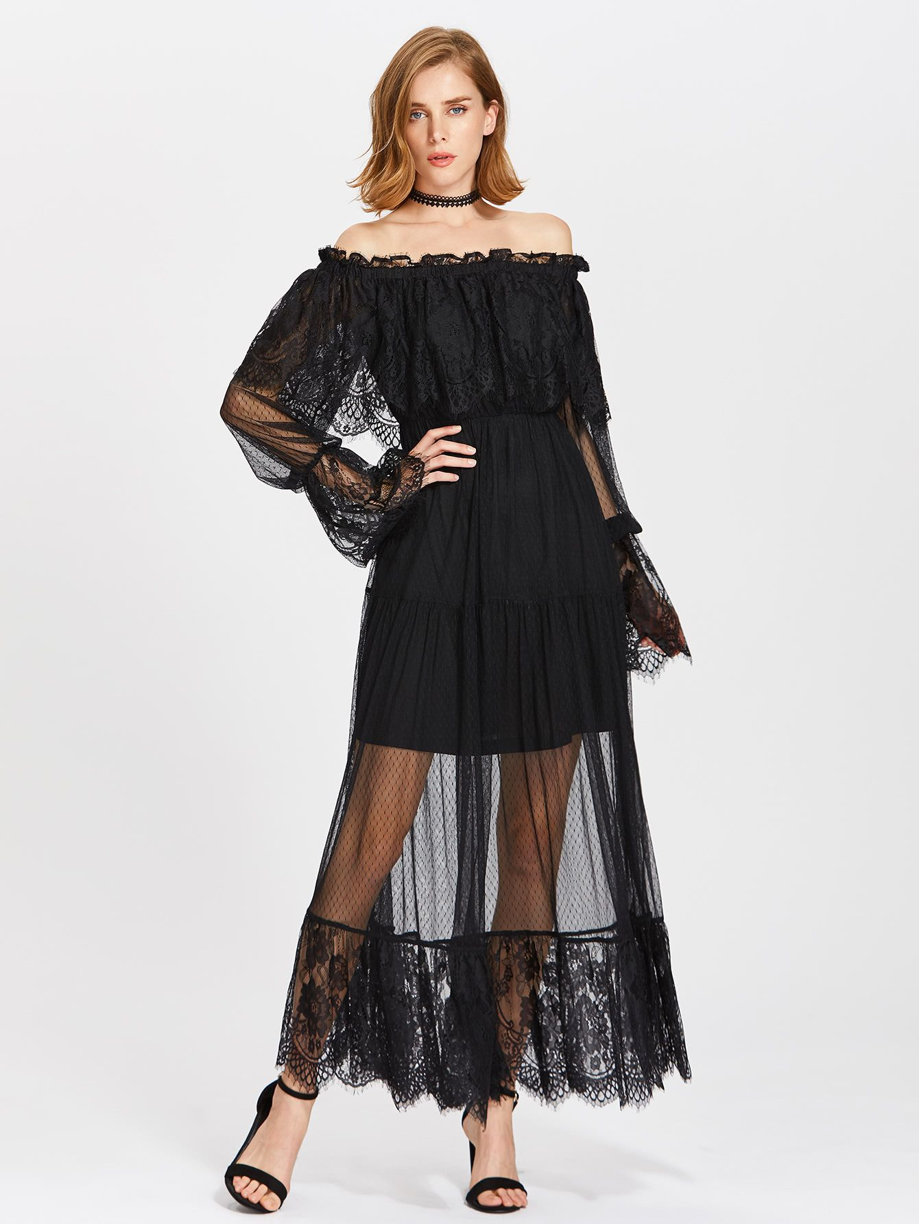 d41213850e Frill Off Shoulder Lace Overlay Tiered Dress. Black Elegant Sexy Vacation Lace  Off the Shoulder Long Sleeve A Line Maxi Ruffle Pleated Plain Fabric has  some ...