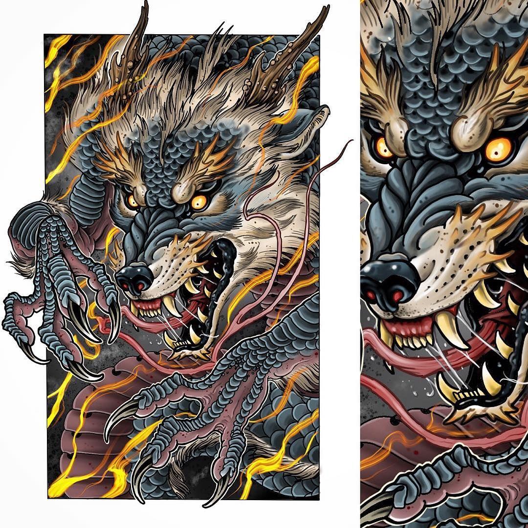 Halfdragon Werewolf Japanese Tattoo Dog Tattoos Art