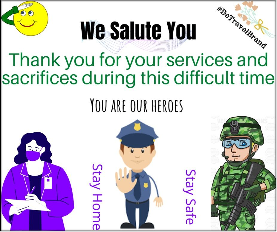 Thank you for your services and sacrifices during this difficult time You are our Heroes  #Travel #Tours #Tourism #Explore #Traveler #Travelbrand #Natureloverss #Airtickets #Cheapairticket #Holidays2020 #Vacation #Honeymoon #Traveling #Tourist #Trekking #AirlineTickets #CheapAirtickets #HotelBooking #Umrah #Umrahpackages #Umrah2020