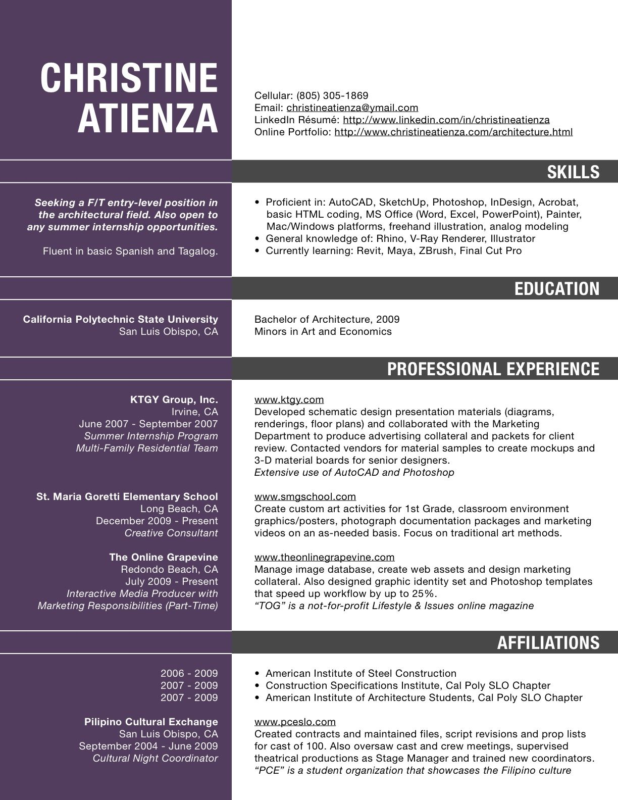 Undregraduate Architect Resume Yahoo Search Results Yahoo Image