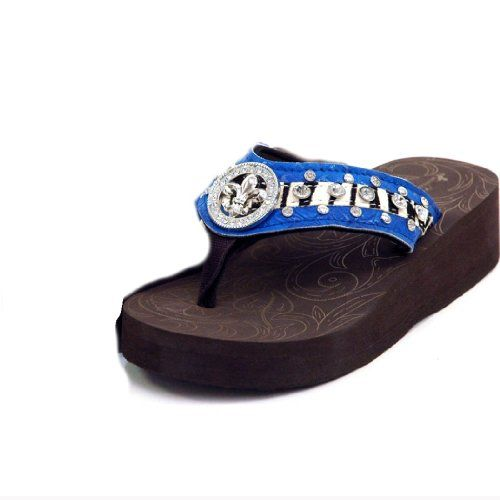 Montana West Teens and Women's Bling Wedge Flip Flop Sandals with Fleur De Lis & Rhinestone Accent S03 $49.99
