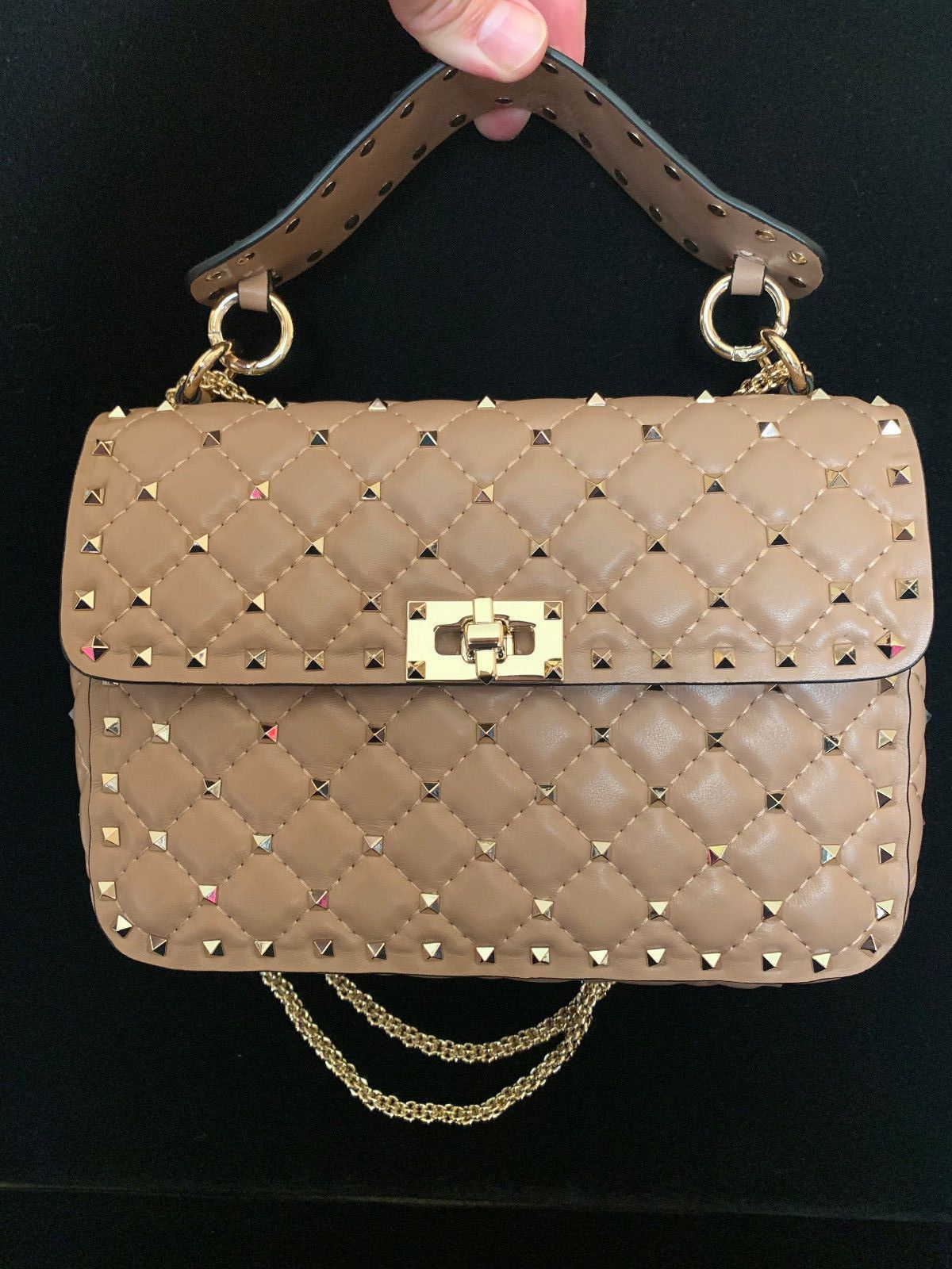 cdb00a8e21 Details about Valentino Garavani Rockstud Spike Shoulder Chain Bag ...