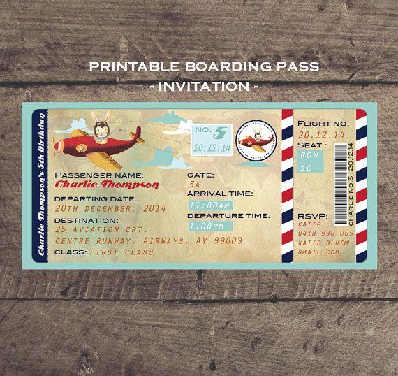 Aeroplane boarding pass printable birthday invitation - Modele billet avion a imprimer ...