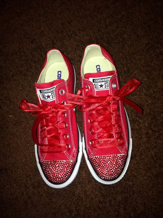 663f755cabb1 Red bling converse by RhinestoneEverything on Etsy