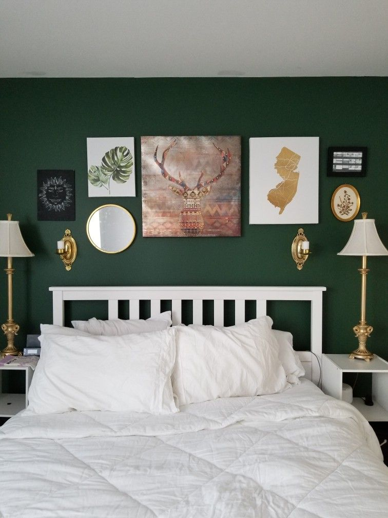 Dark Green Accent Wall With Gold Details Green Accent Walls Green Bedroom Walls Bedroom Green