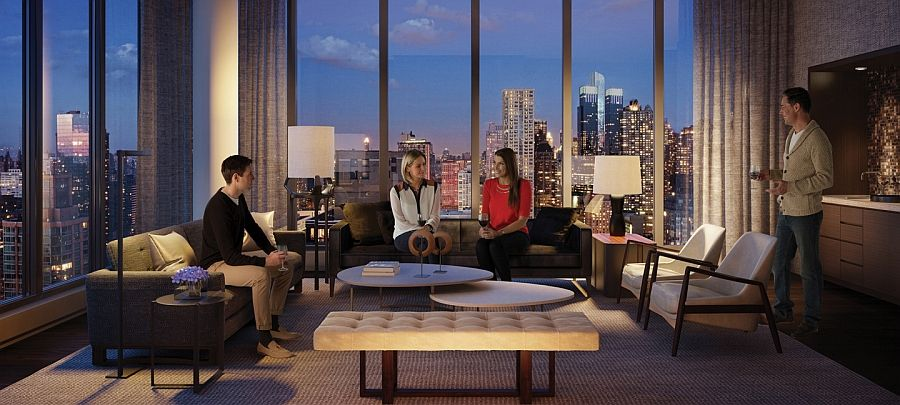 Luxury waterfront condominium with expansive views of nyc for Luxury apartments in new york city