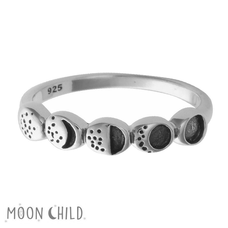 Moon phase silver ring (Sterling silver)