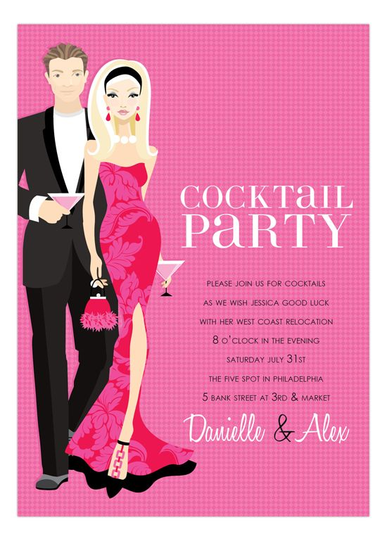 Blonde Cocktail Party Hot Pink Invitation – Invitations for Cocktail Party