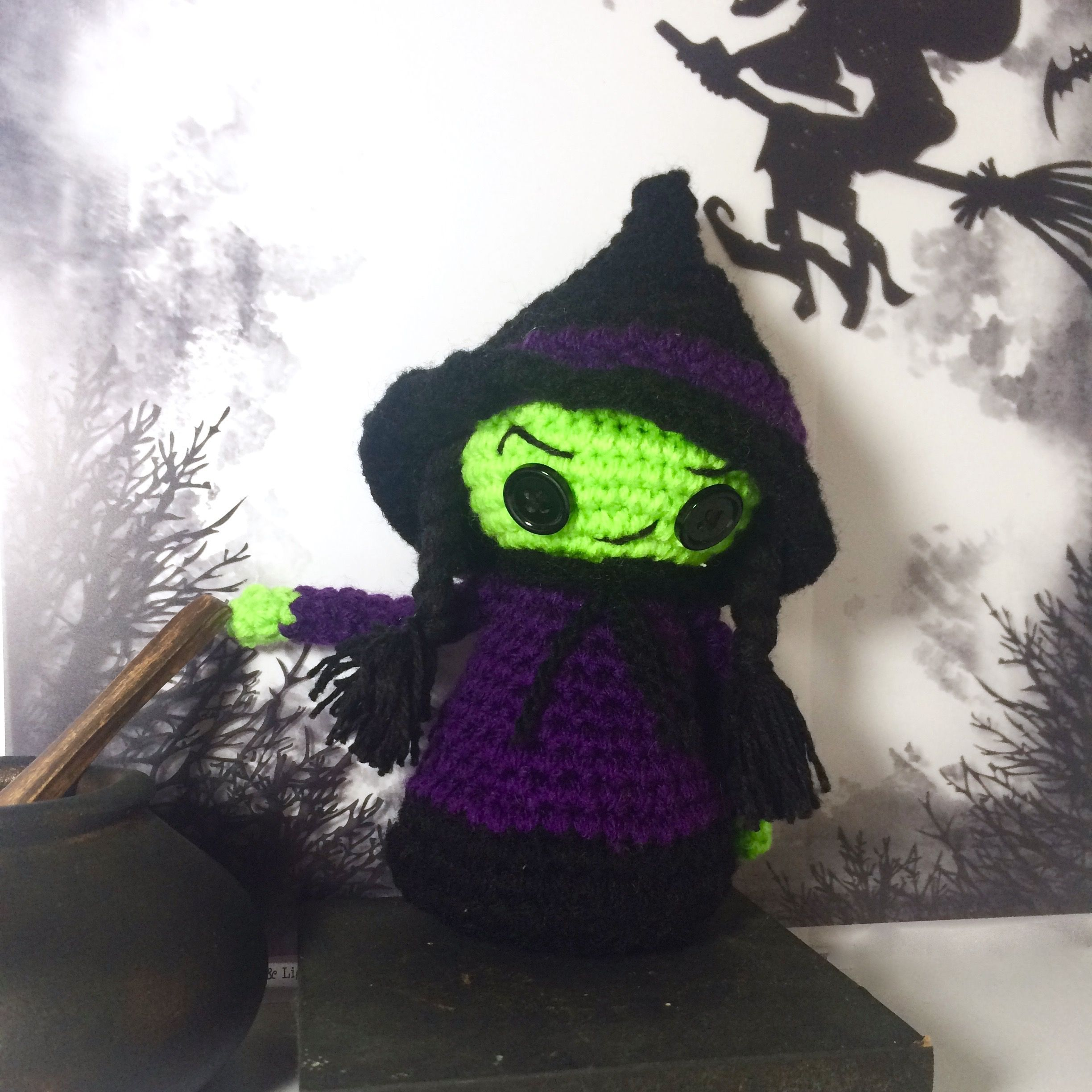 Halloween amigurumi pattern, Witch crochet pattern, Elphaba, Wizard