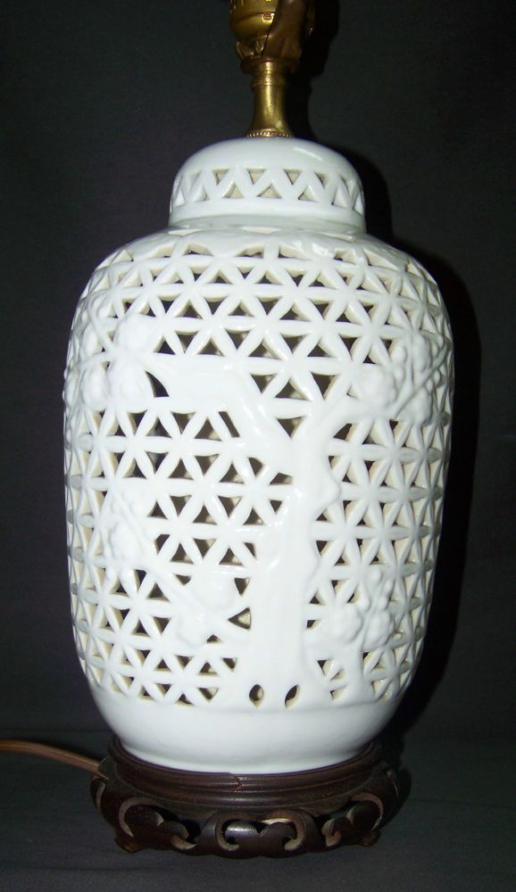 Vintage Asian-Style Blanc De Chine Reticulated Ginger Jar Table Lamp, Nightlight