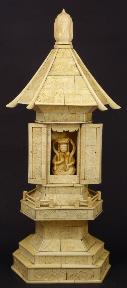 CHINESE IVORY CARVING | chinese ivory temple shrine with goddess antique chinese hand carved ...