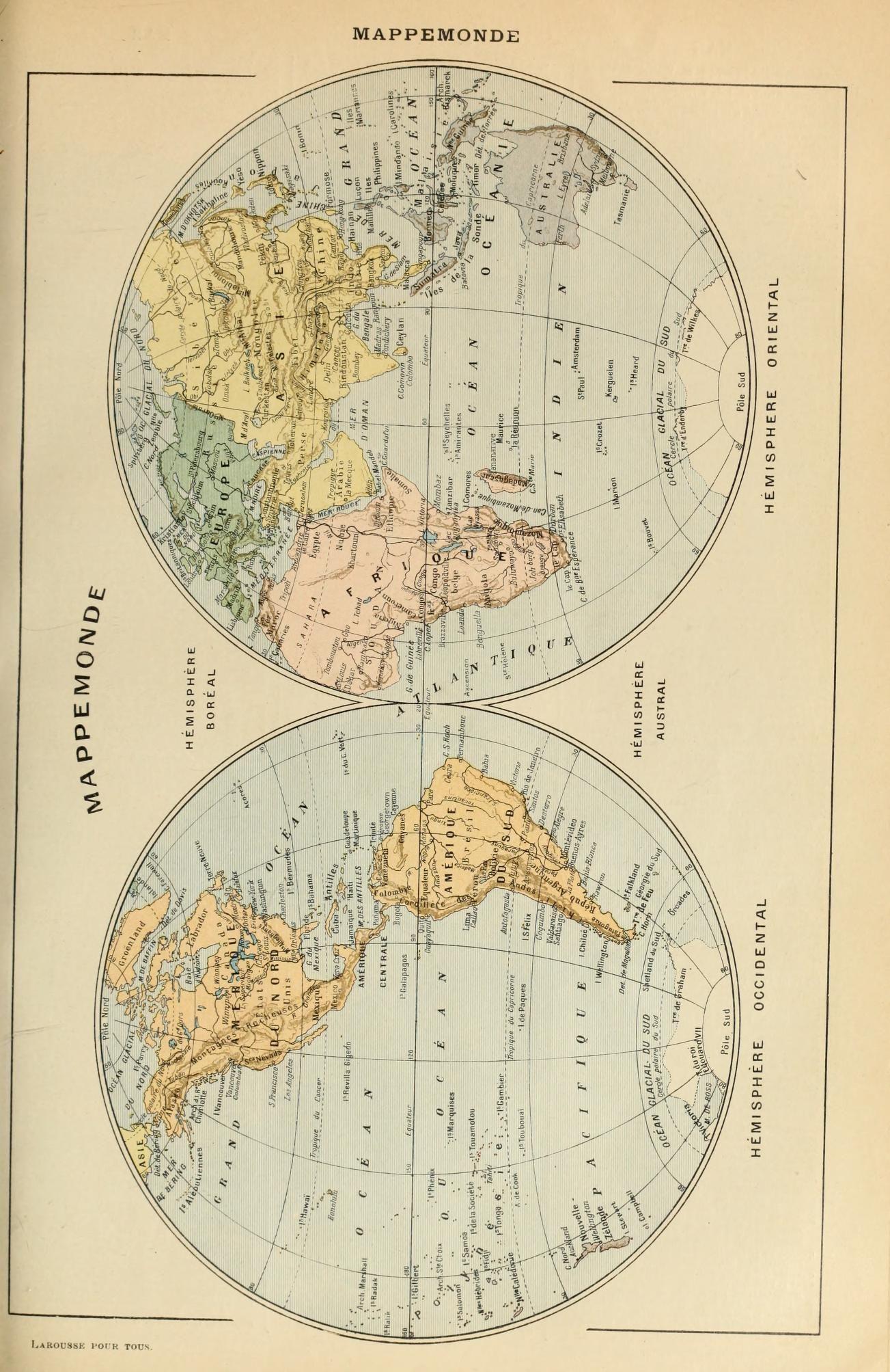 Le Larousse Pour Tous Mappemonde Carte Et Plan Carte Postale
