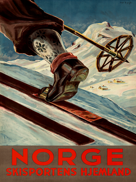 Ski Norway 1935 Home Of Skiing Vintage Poster Print Winter Sports Snow Retro Art