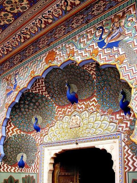 Detail of the Mashhad Mosque in Iran, decorated in multi-colored majolica in a peacock motif