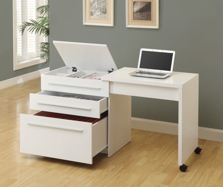 Glossy Small White Desk On Wheels With Stylish Slide Out Drawers.  #deskonwheels #slideoutdesk #liftupdrawer #whitedesk #tallonperryinteriors