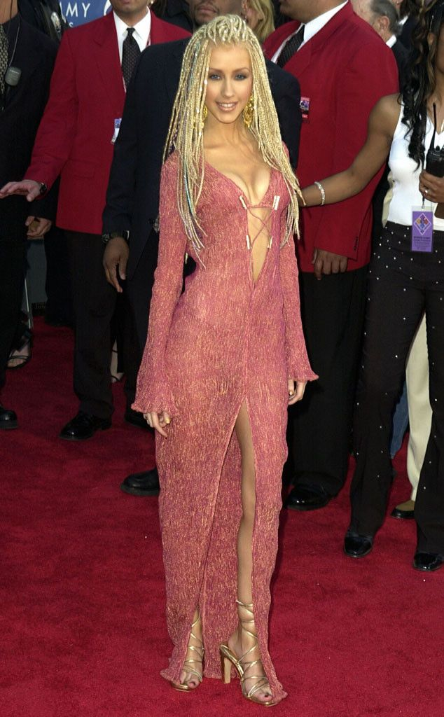 Christina Aguilera 2001 From Grammys Red Carpet Look Back E Online Grammy Fashion Fashion Red Carpet Looks