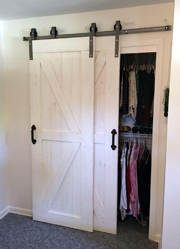 This Single Track Bypass Barn Door Hardware Kit Allows Two Doors To Over Lap Each Other So They Are Bypass Barn Door Hardware Bypass Barn Door Barn Door Closet