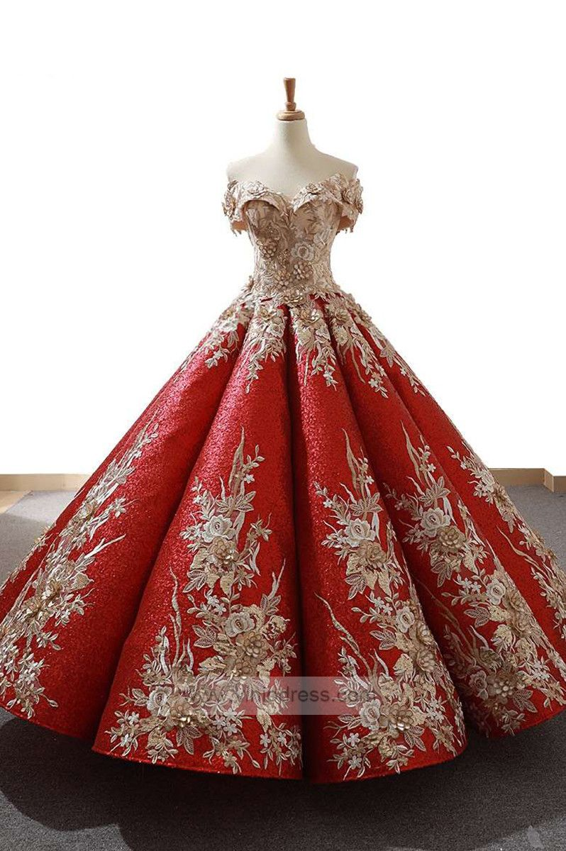96ab067c4b1 Off the shoulder gold lace ball gown prom dresses. Red quinceanera dress.ball  gowns