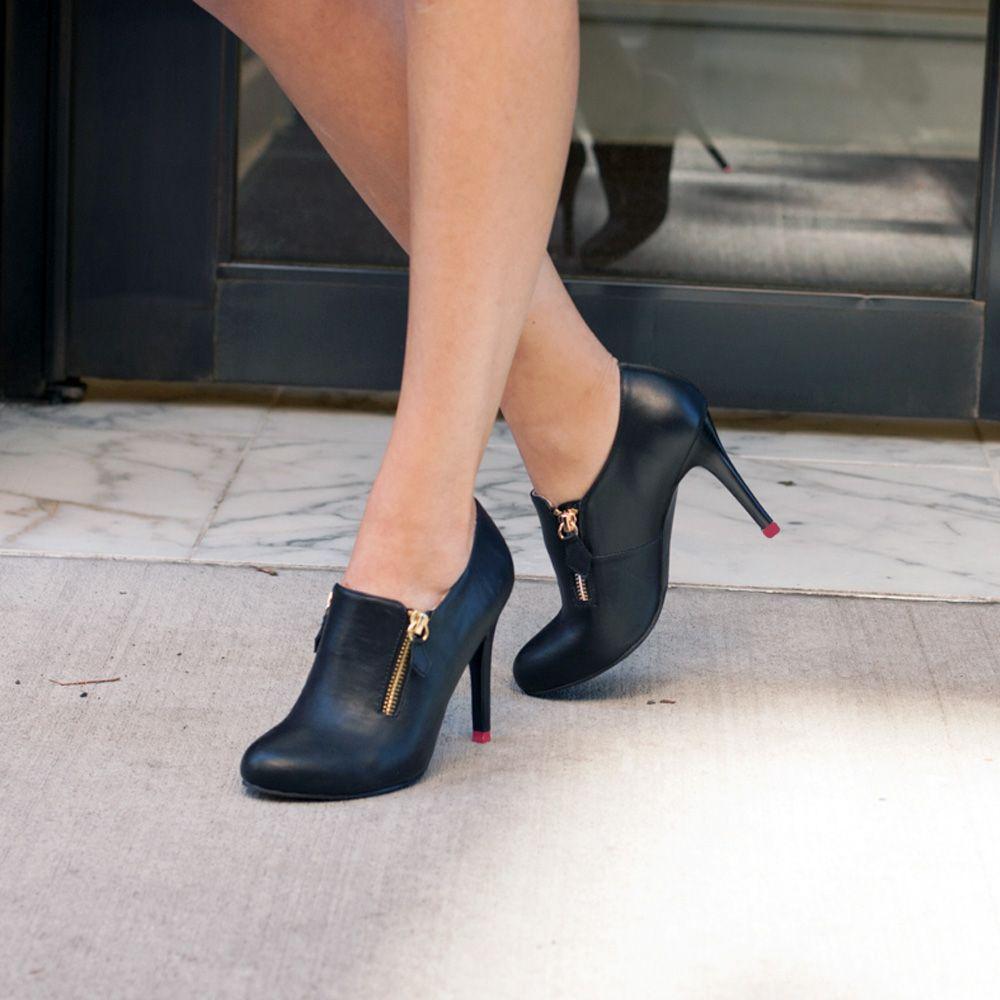 Black Leather Double Zip Loafer Bootie.... work heels 54c7443b4