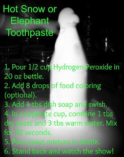 1/2 cup hydrogen peroxide, 8 drops of food coloring, 1 tbs ...