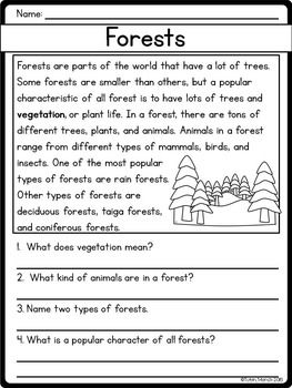 Reading Comprehension Passages And Questions Nonfiction Sam