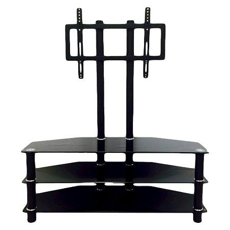 3 Shelf Glass Tv Stand With Mount Black 43 Quot Hodedah Import