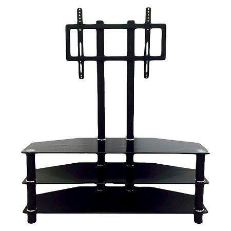 3 Shelf Glass Tv Stand With Mount Black 43 Hodedah Import