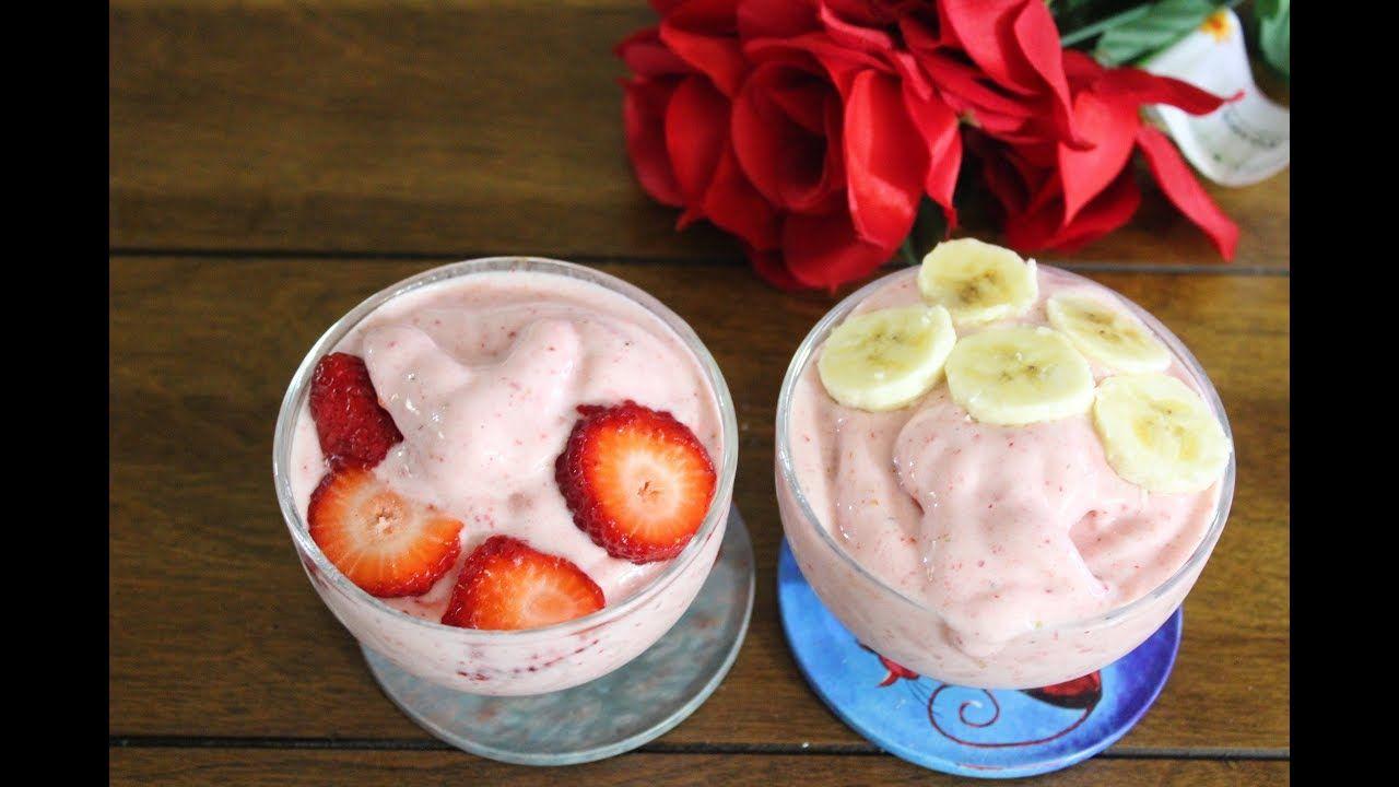 ايس كريم الموز والفراولة لذيذ وخفيف Food Desserts Ice Cream