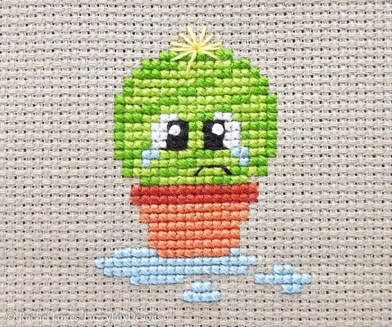 Spike the Cute Baby Cactus Cross Stitch Pattern PDF | Prickly but