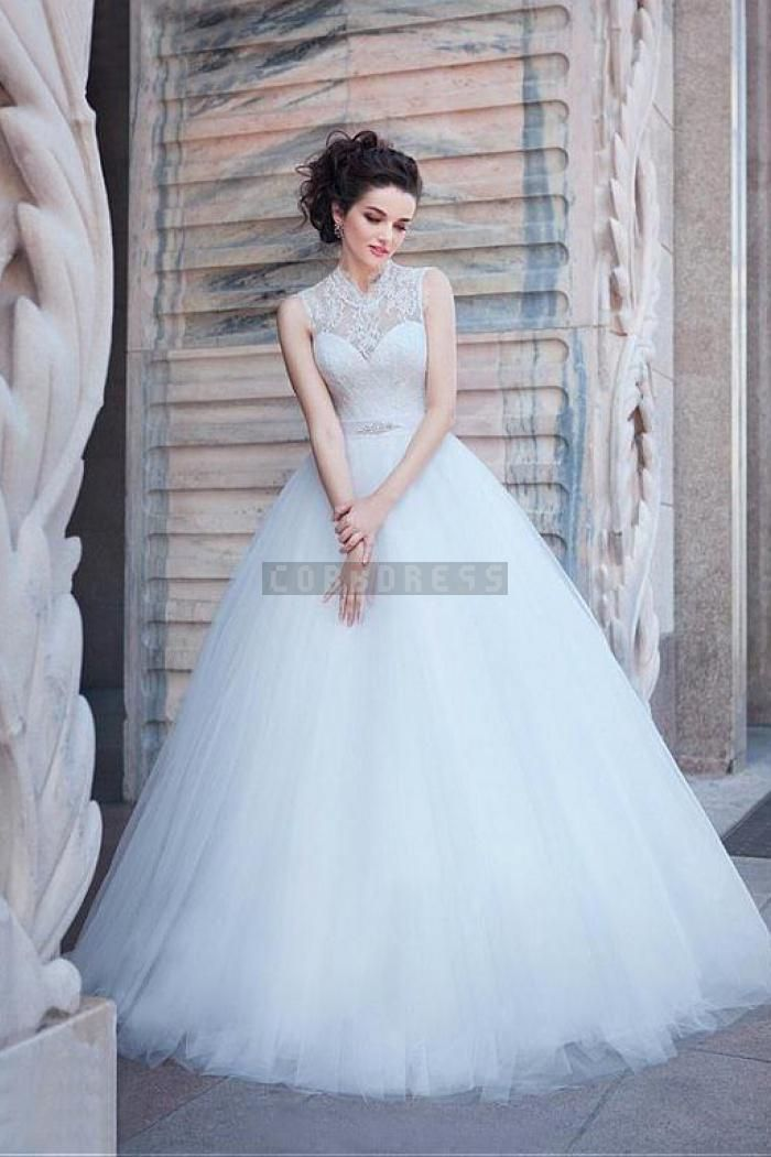 High Collar Lace Tulle Sleeveless Ball Gown Wedding Dress