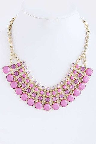 Honey Love — Anabelle Crystal Necklace, Pink