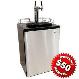 Enlarge Haier HBF05EBSNK-2 Dual Faucet Kegerator Black Cabinet with Stainless Steel Door