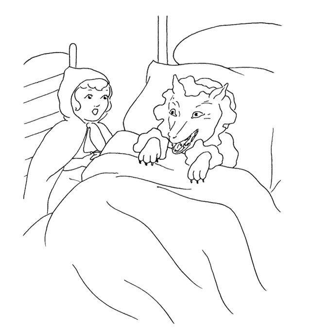 Little Red Riding Hood Carries A Small View Pain Coloring Page For Kids