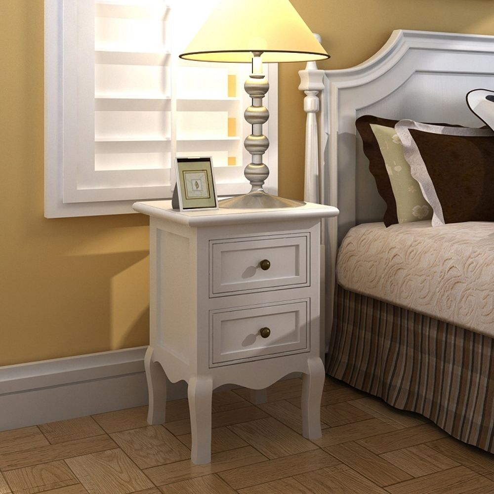 White Bedside Cabinet Nightstand Table High Gloss Chest Drawer